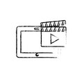 figure tablet technology with clapperboard video vector image vector image