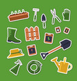 flat gardening icons stickers set vector image