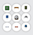 flat icon appliance set of hdd resistor vector image vector image