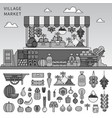 food market in village line monochrome vector image