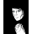 Girl with Black Hair Lineart3 vector image vector image