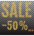 gold sale 50 percent golden sale 50 percent on vector image