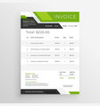 green business invoice template design vector image vector image