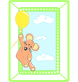 Greeting card with animal and balloon vector image vector image