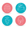 happy easter rabbit eggs day icon vector image
