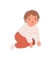 happy smiling girl crawling portrait kid vector image vector image