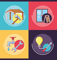 home repair with tools set icons vector image vector image