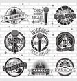 karaoke label emblem badge logo set vector image vector image