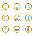 kitchen tools icons set cartoon style vector image