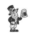 leprechaun with beer sketch vector image