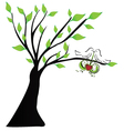 Love birds hanging a heart vector image vector image
