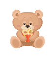 lovely teddy bear sitting and holding small vector image
