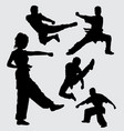 martial art pose male and female sport silhouette vector image vector image