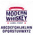 modern whiskey label font poster vector image vector image