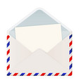 open international mail envelope with letter vector image vector image