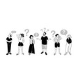 people with gestures of questioning emotion signs vector image
