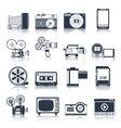 Photo video icons set black vector image vector image