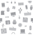 Pixel art computer objects seamless pattern vector image