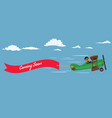 retro style plane with red flying ribbon and text vector image