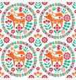 scandinavian cute folk art seamless pattern vector image vector image