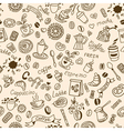 Seamless doodles background with coffee vector image