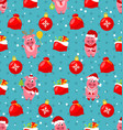 seamless pattern with cartton pigs christmas bag vector image vector image