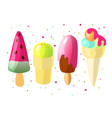 set cute cartoon colored ice cream collection vector image vector image