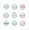 set cute people friends with style design vector image