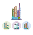 Set icons of a chemical plant vector image