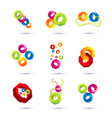 set of minimal geometric multicolor symbol set vector image