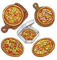 set of whole pizza and slice vector image