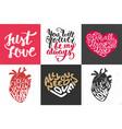 set romantic hand drawn unique typography vector image