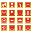 sport equipment icons set red vector image vector image