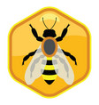 symbol single working bee on honeycell vector image vector image
