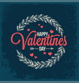 valentines day vintage card on blue background vector image