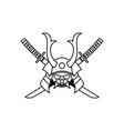 vintage line art japanese samurai mask with vector image