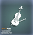 Violin icon On the blue-green abstract background vector image