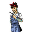 winking tattooed female barber vector image vector image