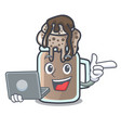 with laptop milkshake character cartoon style vector image vector image