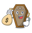 with money bag coffin character cartoon style vector image