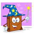 Wizard Book Cartoon Character Holding A Magic Wand vector image vector image