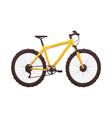 yellow mountain bike isolated on white background vector image
