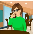 young woman with glasses drinking beverage vector image vector image