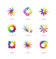 set of minimal geometric multicolor floral vector image