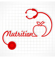 Stethoscope make nutrition word and apple vector image