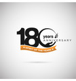 180 years anniversary logo with ribbon and hand vector image vector image