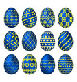 a set of blue easter eggs with patterns vector image vector image