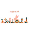 boho easter concept design bunnies eggs flowers vector image