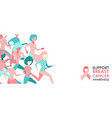breast cancer care girl group run banner concept vector image