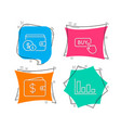 buying accessory buy button and dollar wallet vector image vector image